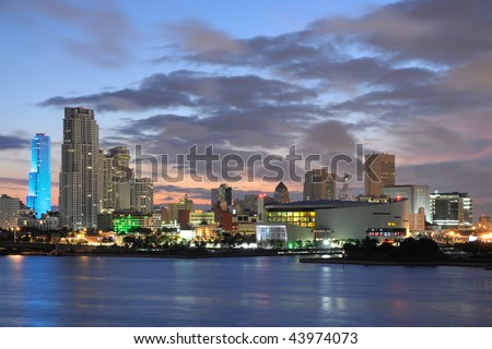 Downtown Miami at dusk, Florida