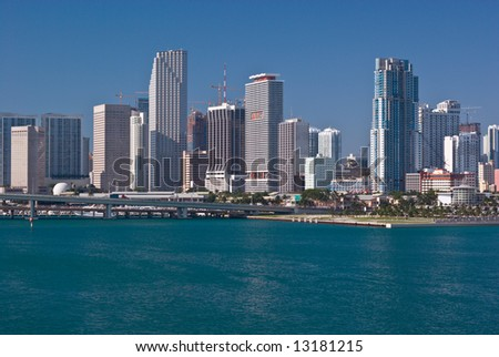 Downtown Miami Bayfront With Highrise Office Buildings, Condos and Hotels