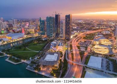 Stock photo of Downtown Miami Florida at sunset illuminated cityscape