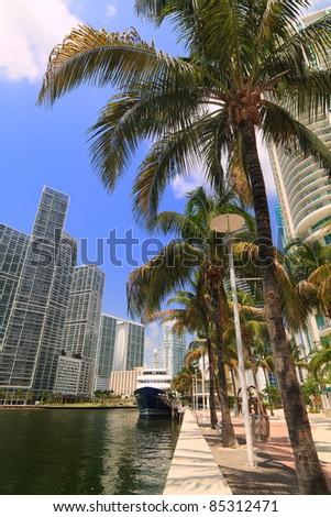 Downtown Miami River cityscape.