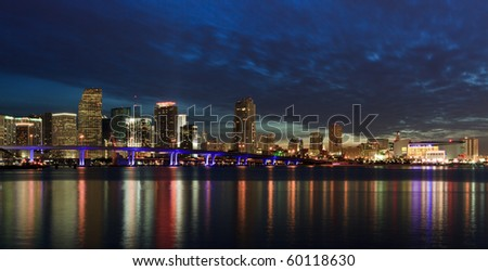 Downtown Miami Skyline and Biscayne Bay at Sunset
