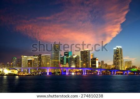 Downtown Miami skyline at dusk, Florida, United States