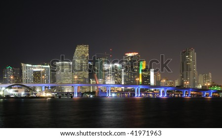 Downtown Miami Skyline at Night. Florida, USA