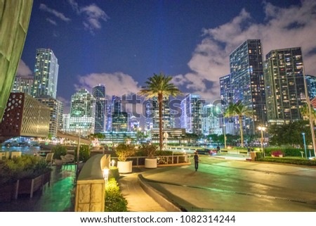 Downtown Miami skyscrapers at night.