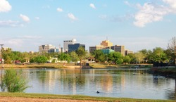 Downtown Midland, Texas on a Sunny Day as Seen Over the Pond at Wadley Barron Park