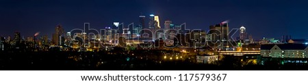 Downtown Minneapolis Minnesota (Eastern Side of the City) at Night Time.