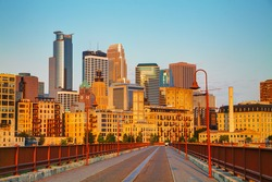 Downtown Minneapolis, Minnesota in the morning as seen from the famous stone arch bridge