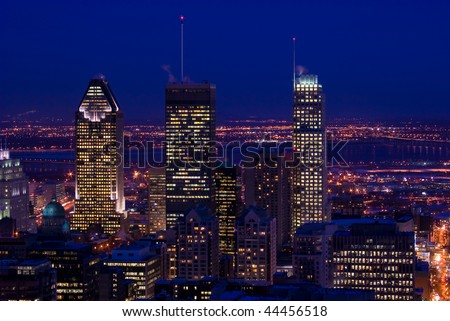 downtown montreal at dusk cityscape with skyscrapers lights