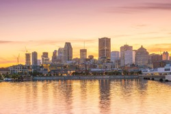 Downtown Montreal skyline at sunset in Canada