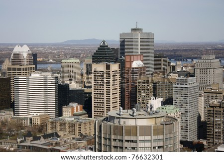 Downtown Montreal viewed from a higher lookout