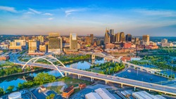 Downtown Nashville, Tennessee, USA Aerial.