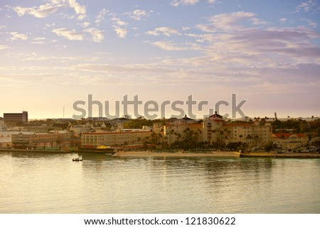 downtown nassau bahamas, as seen from the water - stock photo