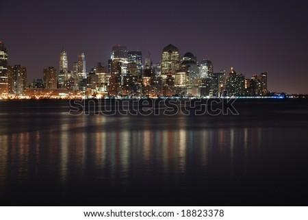 new york city at night time. ny, new vibrant night time
