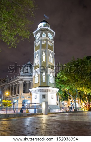 downtown night scene guayaquil ecuador south america