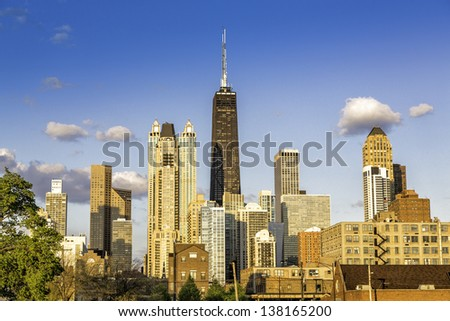 Downtown of Chicago with blue sky - stock photo
