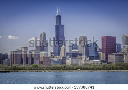 Downtown of Chicago with blue sky