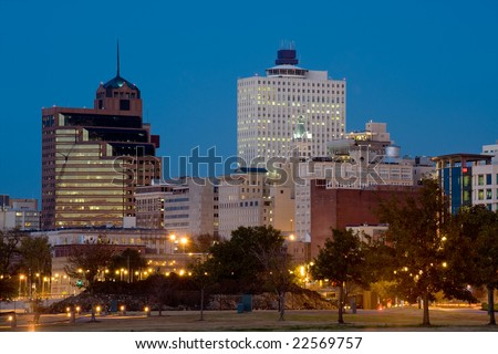 Downtown of Memphis, TN from Tom Lee park