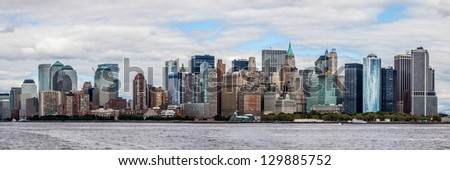 Downtown of New York, panoramic view from the ocean.