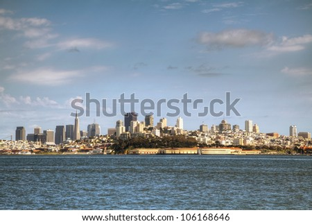 Downtown of San Francisco as seen from seaside in noon