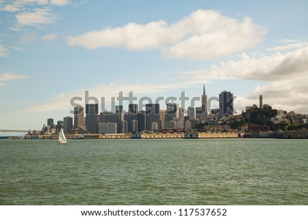 Downtown of San Francisco as seen from the bay in the morning