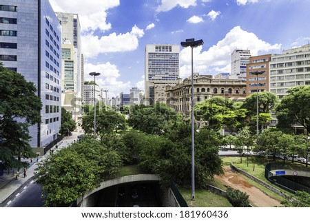 Downtown of Sao Paulo ( Viaduto do Cha ) Brazil - Latin America #181960436