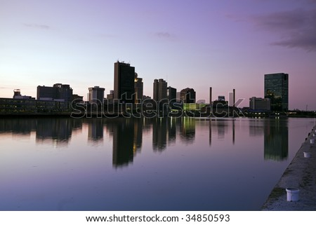 Downtown of Toledo - sunset time.