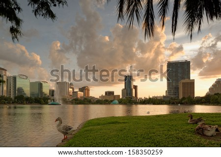 Downtown Orlando and from Lake Eola