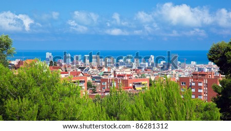 Downtown panorama of Barcelona, Spain. View from the Park Guell