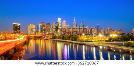 Downtown  Philadelphia Skyline in Pennsylvania at twilight