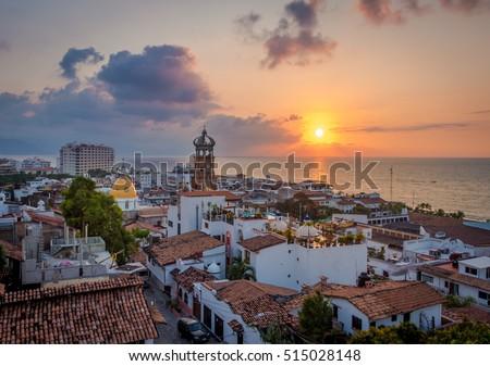 Shutterstock Downtown Puerto Vallarta at sunset - Puerto Vallarta, Jalisco, Mexico