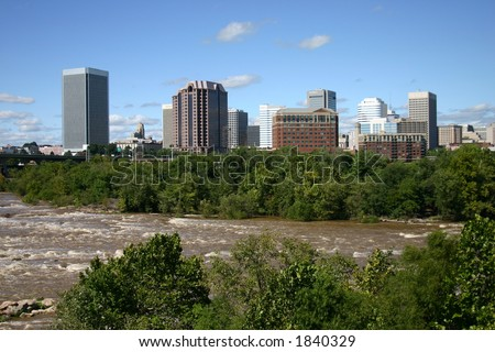 Downtown Richmond - View from the Flood Wall - James River Near Flood Level 9