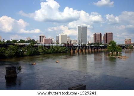 Downtown Richmond Virginia - Train on the Bridge