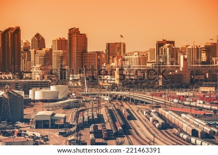 Downtown San Diego, California, USA. Downtown Area with Railroad Hub. Southern California City. San Diego is the  Eighth Largest City in the United States.