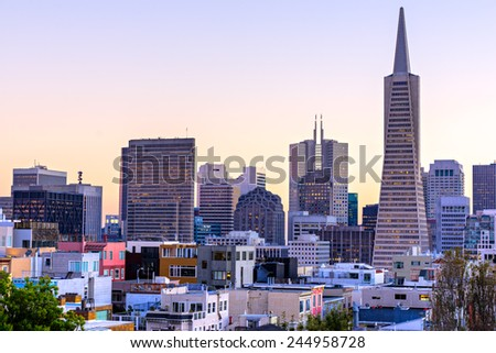 Downtown San Francisco at twilight, California, USA.