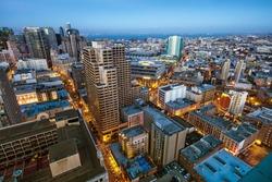 Downtown San Francisco city skyline at dusk