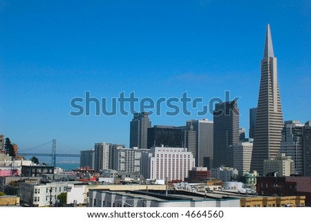 Downtown San Francisco from a rooftop overlooking Chinatown and North Beach