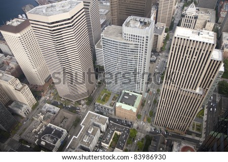 Downtown Seattle full of skyscrapers - stock photo