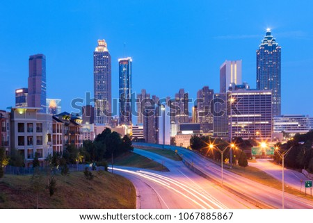 Downtown skyline at dawn, Atlanta, Georgia, USA