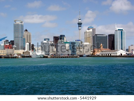 Downtown skyline of Auckland City, New Zealand