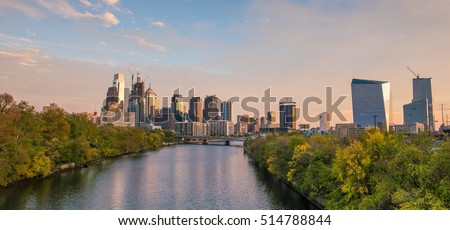 Downtown Skyline of Philadelphia, Pennsylvania at sunset in USA