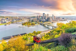 Downtown skyline of Pittsburgh, Pennsylvania at sunset in USA
