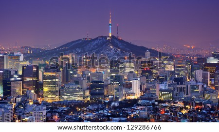 Downtown skyline of Seoul, South Korea with Seoul Tower.