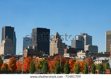 Downtown skyline with trees showing thier autumn colors