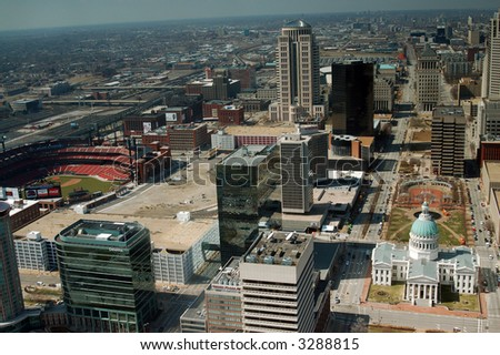 Downtown St. Louis from the Arch - Including Busch Stadium and Courthouse