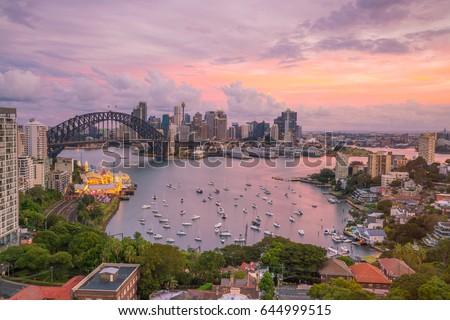 Downtown Sydney skyline in Australia at twilight #644999515
