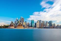 Downtown Sydney skyline with blue sky in Australia