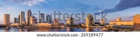 Downtown Tampa Florida Panoramic Sunset