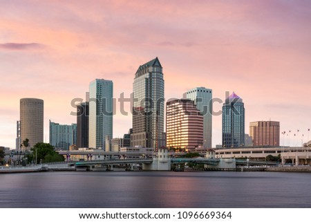 Downtown Tampa Florida Sunset Cityscape Foto stock ©