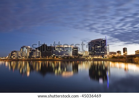 Downtown Tempe and Tempe Town Lake at sunset