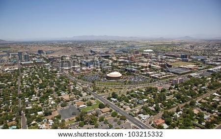 downtown tempe arizona skyline looking from the southwest